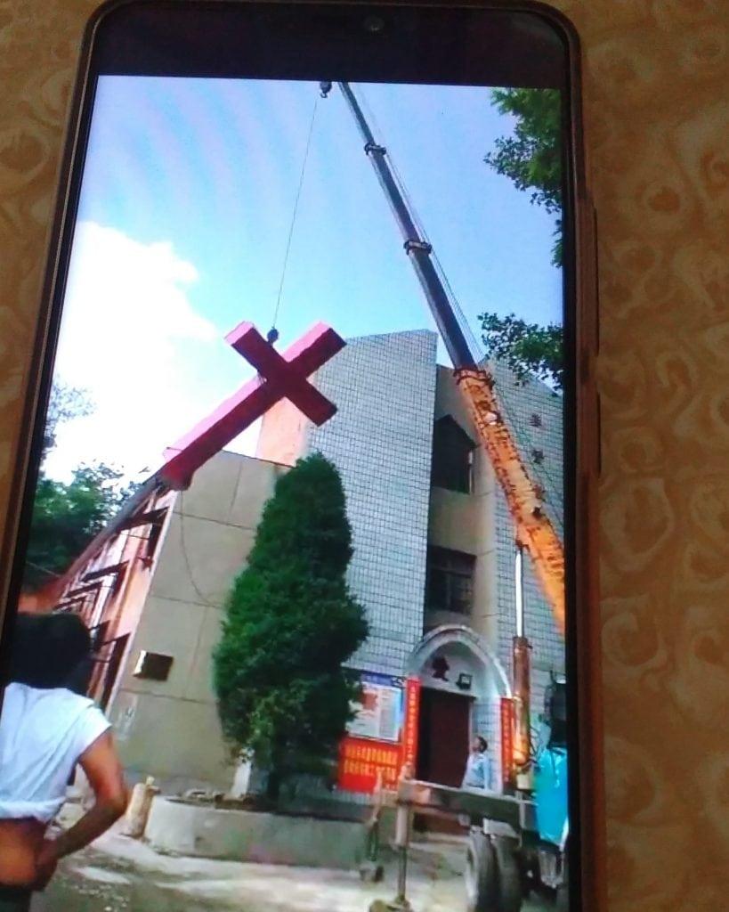 No cross on Qianjing Church in Shecun