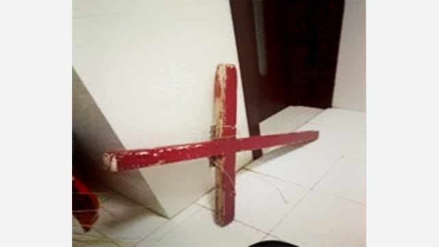 """cross removed from the """"True Love"""" church"""