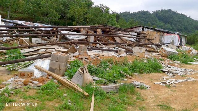 Two dwellings after being demolished
