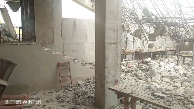 Before the demolition, Muslims held worship in the basement; furniture was destroyed by law enforcement officers