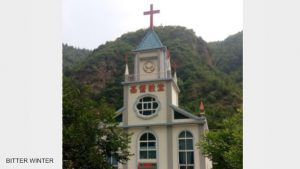 Lian'gou Village Church in Baitu town, Luanchuan county of Luoyang city before its crosses were forcibly removed