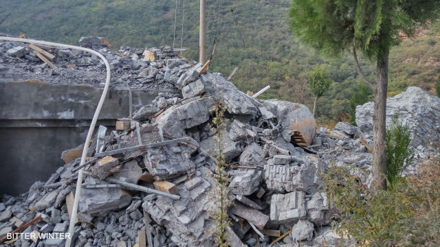The Maitreya Buddha statue is demolished and turned into ruins