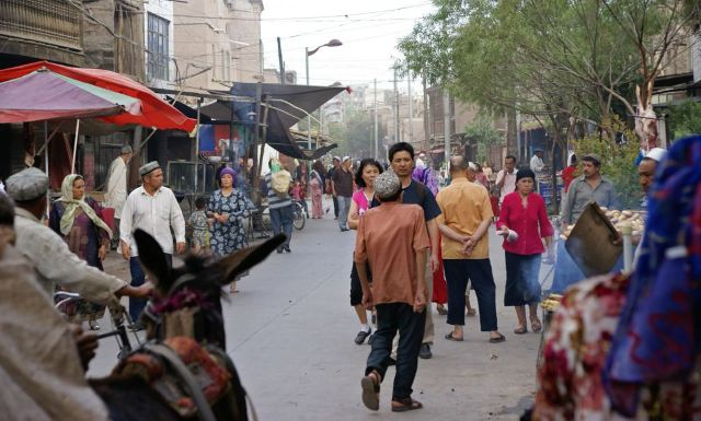 A street scene in Kashgar, China.