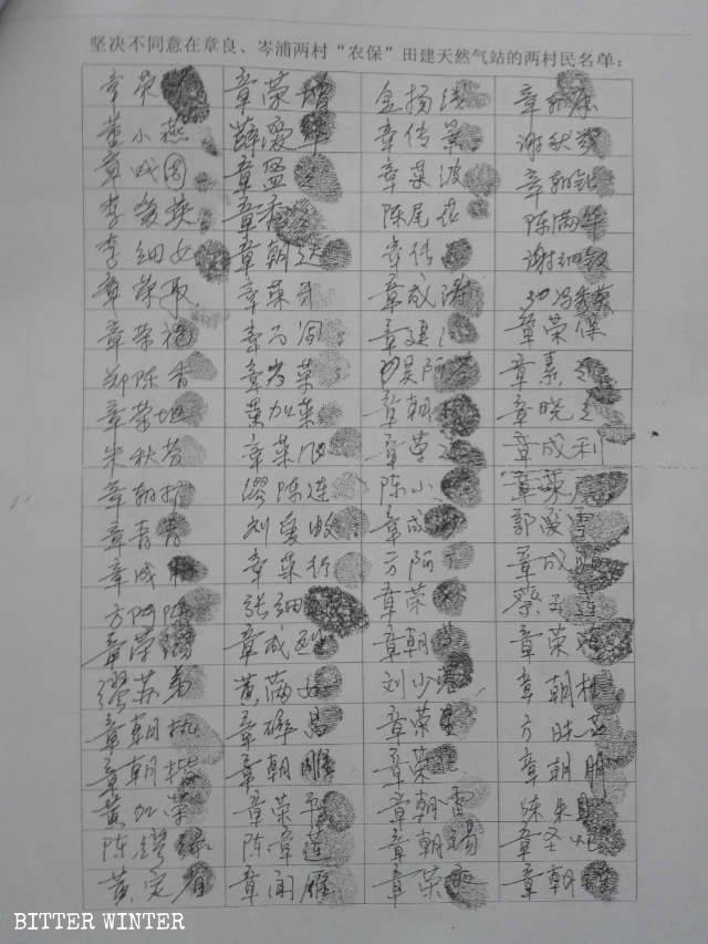 All villagers signed a letter with their fingerprints to oppose construction of thenatural gas station.