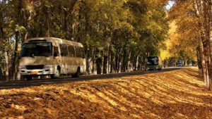 Bus on xinjiang's road