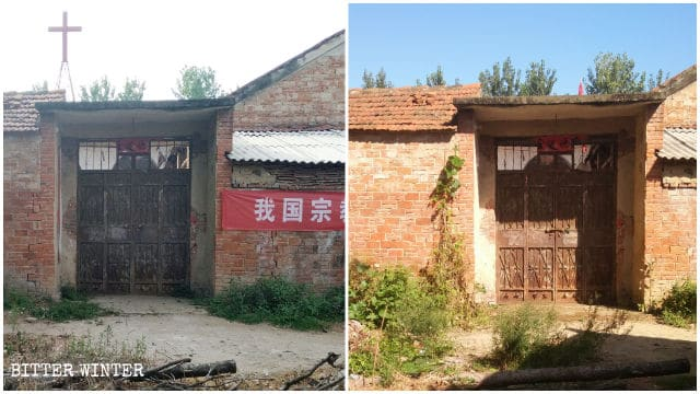 The church before and after removal of its cross