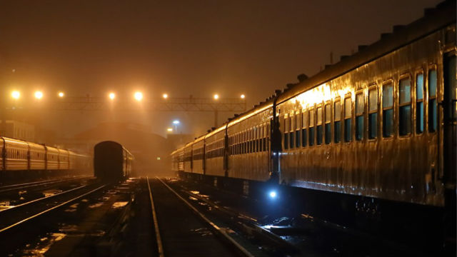 special train at night
