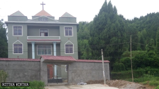 The Three-Self Gospel Church before authorities removed its cross.
