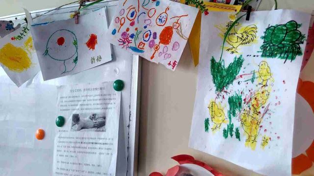 Paintings made by children at the orphanage.