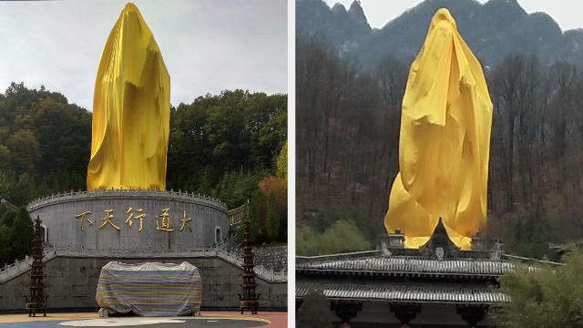 The Laozi statue is completely wrapped in yellow cloth
