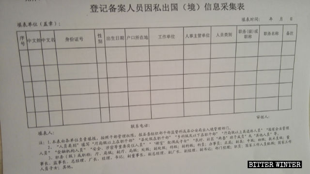 Information collection form for the registration