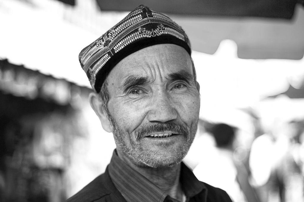 Selling apples in Kashgar's Grand Bazar