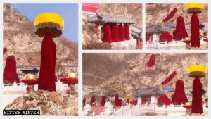 The open air Buddhist statues in Thousand Buddha Cave