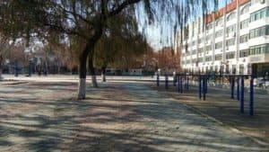 A corner of the campus of a university in Zibo city.