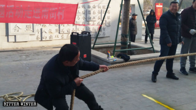 One Sunday in January 2019, a village in Henan organized a tug-of-war and other activities for villagers.