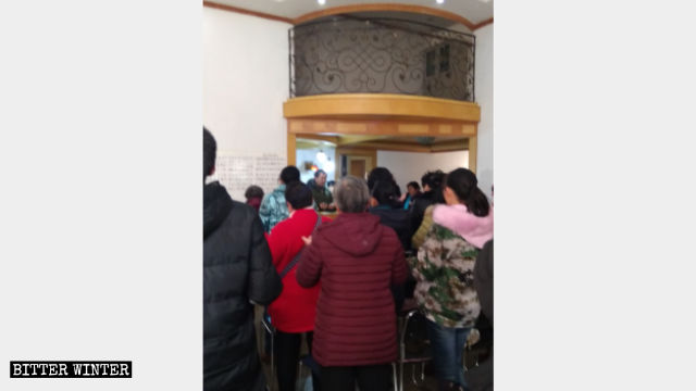 Believers are holding a gathering in a duplex building