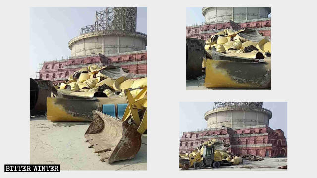 Fragments remaining after the bronze sitting Buddha statue in Xiantang Mountain Scenic Area was demolished.