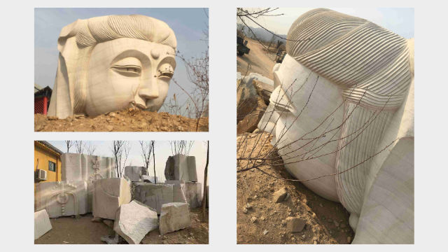 The Guanyin statue was demolished into pieces.