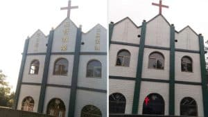 Religious words have been removed from this church