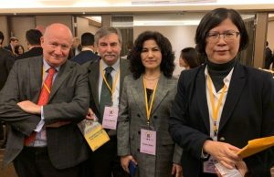 Massimo Introvigne, Marco Respinti, Rushan Abbas and Falun Gong attorney Theresa Chu at the Taipei Ministerial. Photo by Rosita Šorytė.