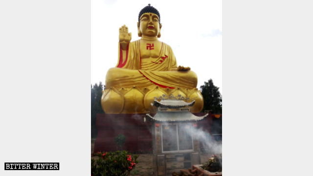 The original appearance of the bronze sitting statue of Shakyamuni in Anning.