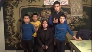 Attorney Aiman Umarova with orphan kazakh children