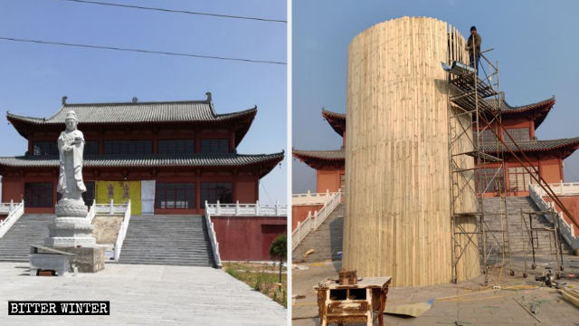 Guanyin statue in front of Fusheng Temple before and after being enclosed