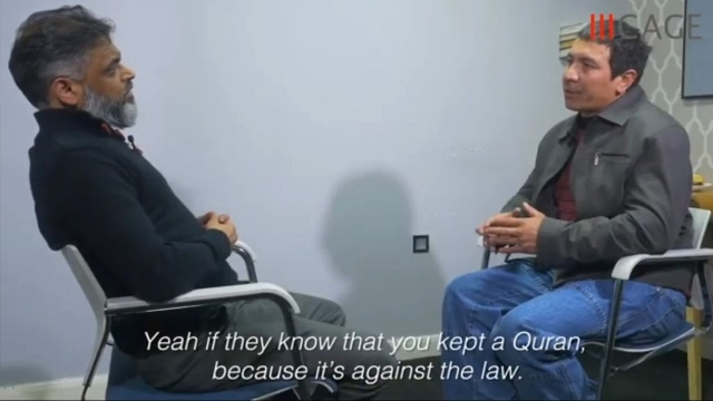 Khalil Mahmut, a former Guantanamo detainee, being interviewed by Moazzam Begg, CAGE outreach director