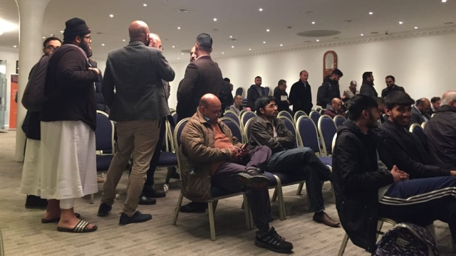 """London Muslims gathering to hear Uyghur testimonies as part of the """"Surviving China"""" tour of the UK."""