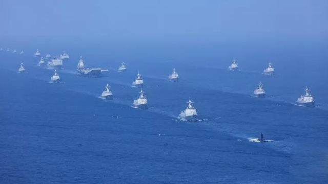 Navy parade in the sea