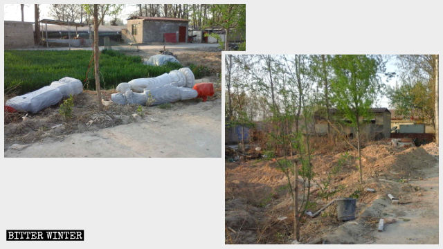 Toppled Buddhist statues at Fojing Temple before and after being buried