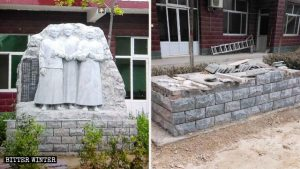 The statues erected by churchgoers to commemorate the three saints have been removed.