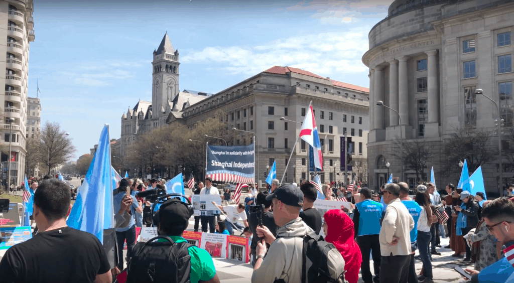 A moment of the uyghur rally