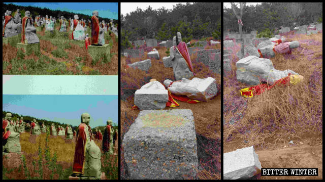 Arhat statues before and after being toppled and damaged.