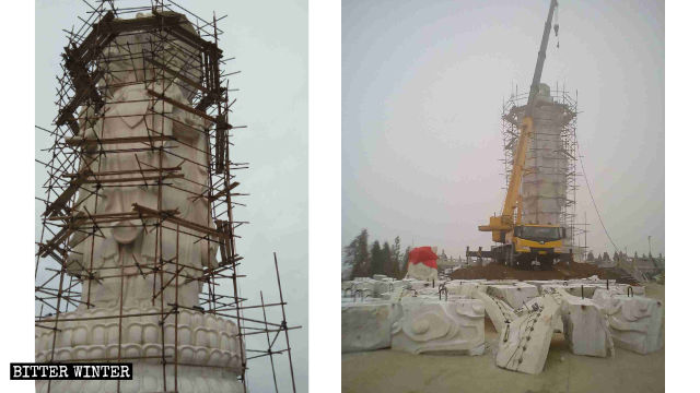 The Four-Faced Guanyin stone statue was destroyed.