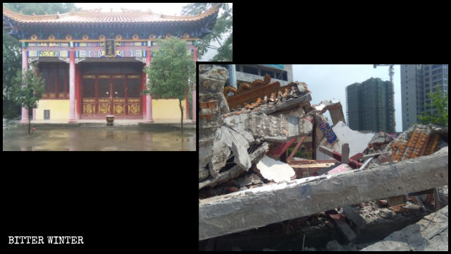 Guanyin Hall before and after the demolition.
