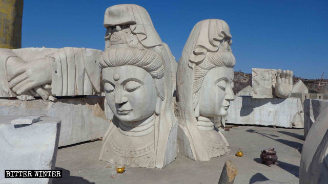 The Guanyin statue was destroyed.