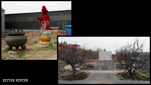 The Guanyin statue in Cihang Painting and Calligraphy Garden in Laoling city was removed.