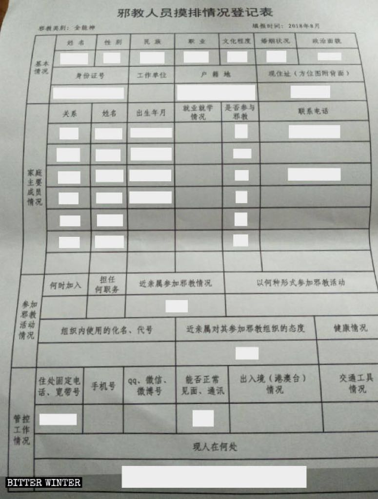 Investigative Status Registration Form for members of xie jiao, aimed at The Church of Almighty God believers, in a district of Fuzhou city