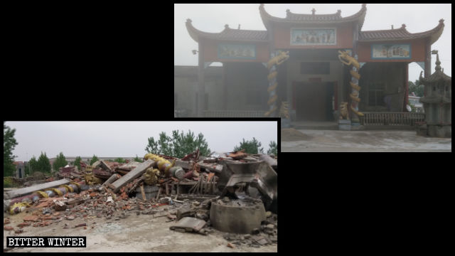 Pure Land Temple before and after the demolition.