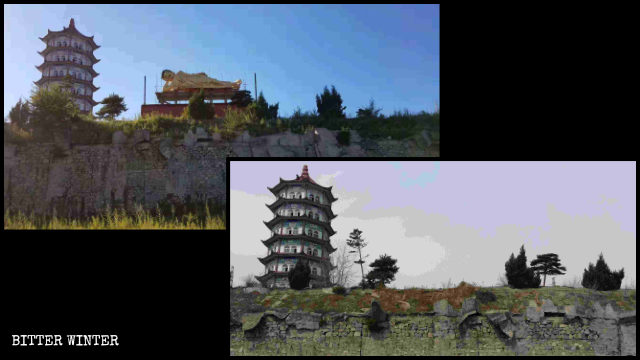 The reclined Shakyamuni statue at Lingbao Temple before and after being dismantled.