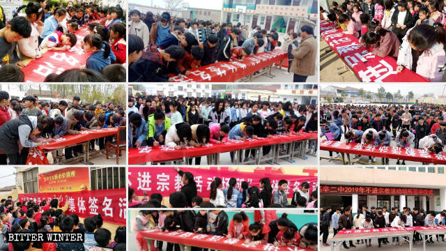 Students at primary and secondary schools in Gaoxin town sign their names on banners at signing ceremonies promising not to enter any religious venues.