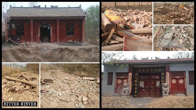 Two temples in Heze city were demolished.