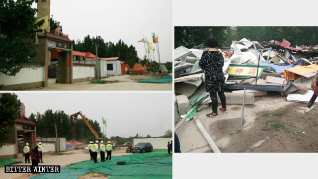 Yanjun Temple before and after the demolition.