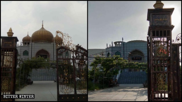 The mosque in Puyang County before and after its domes and star-and-crescent symbols were demolished