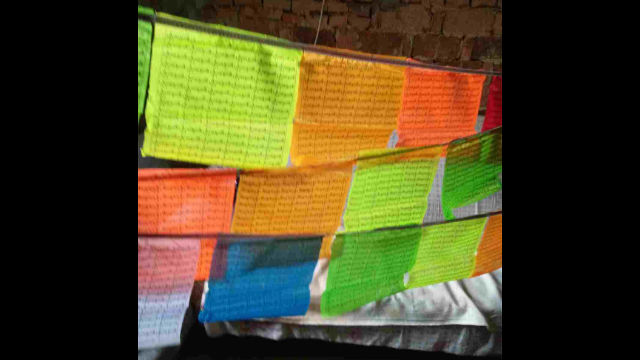 A surviving prayer flag with Buddhist scriptures.
