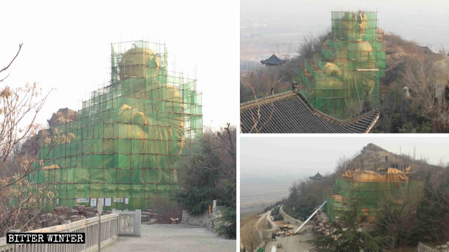 It took 17 days to demolish the statue of Maitreya from the Longfeng cemetery.