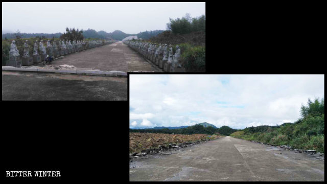 The 500 Arhat statues before and after being dismantled.