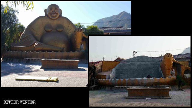 The Amitabha Buddha in a temple on Jingzhong Mountain was demolished.