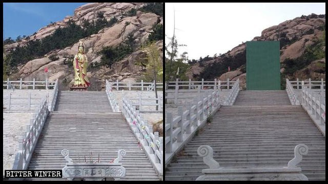 A Bodhisattva statue in Gaofu Temple in Pingdu city was covered after the temple was shut down.